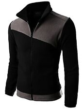 CMOJA089-BLACKGRAY- Doublju Mens Long Sleeve Colorblocked Fleece Zip-Up