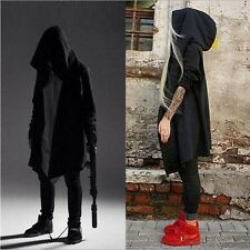 2017 Mens Gothic Cloak Cape Hoodie Long Coat Punk Asymmetric-Hem Hooded Outwear