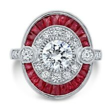 6.35CT Ruby&White Topaz 925 Silver Ring Vintage Wedding Engagement Size 6-10