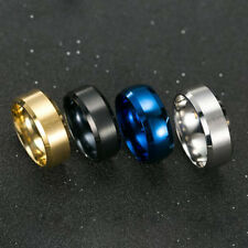 8mm Stainless Steel Ring Man Women's Band Silver Black Blue Gold Rose Size 6-14