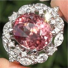Huge 7.2CT Pink Sapphire White Topaz 925 Silver Wedding Engagement Ring Size6-10