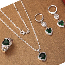 925 Silver Fashion Jewelry Set Women Heart Emerald Necklace Drop Earrings Ring
