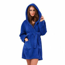 New Ladies Quality XL Short Fleece Hooded Dressing Gown Bath Robe + Tie Belt