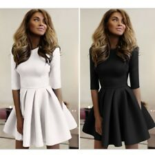 Three-quarter Bodycon One-piece Dress Chiffon Solid Mini Pleated Dress Women New