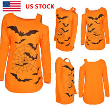 Women Bat Spider Web Printed Blouse Halloween Long Sleeve One Shoulder Top Shirt