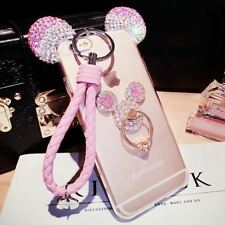 3D Mickey Ear Case For iphone 8 7 6 6s Plus 5 SE Cover With Holder Lanyard For S
