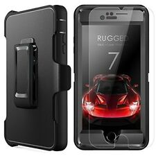 iPhone 8 Case Screen Protector Heavy Duty Rubber Shockproof Dust-proof Black