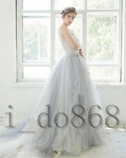 Grey Wedding Dresses A Line Sleeveless Lace Beading Rhinestone Bridal Gowns Fall