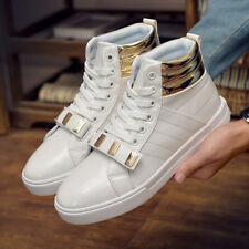 Young Men's High Boots Hip Hop Dancing Shoes Leather High-tops South Korean HR7