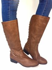 Women's Fashion Low Heel Mid-Calf Knee High Slouch Riding Boots Shoes-Brown