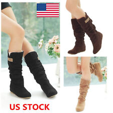 US Women Ladies Suede Flat Lace Cuff Boots Mid Calf Pull On Slouch Boots Shoes