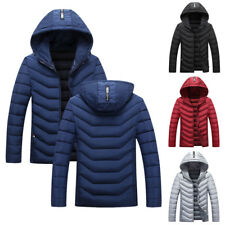 Men Winter Thick Hooded Warm Coats Slim Fit Casual Overcoat Down Jackets Outwear