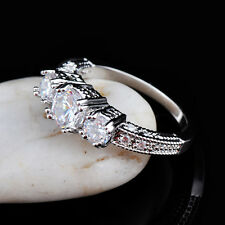 Size 6-9 White Sapphire Silver Wedding Ring 10KT White Gold Filled Jewelry New Q