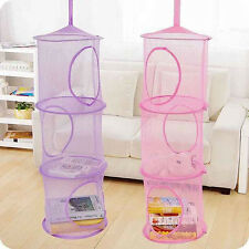 3 Tier Hanging Storage Bag Mesh Net Kids Toy Bedroom Bathroom Organizer Closet