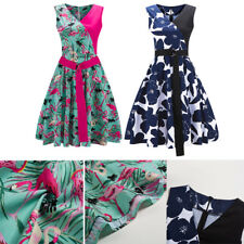 Womens Vintage Style 1950s Retro Floral Rockabilly Swing Party Evening Dresses