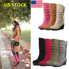 US Women Classic Winter Suede Wedge Heels Boots Side Zipper Mid-Calf Boots Shoes
