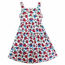 New Girls Dress Colorful Flower Print Cotton Summer Party Princess Kids Clothing