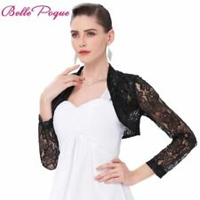 Sexy Black White Lace Bolero Elegant Ladies Shrug Long Sleeve Plus Size S-3XL We