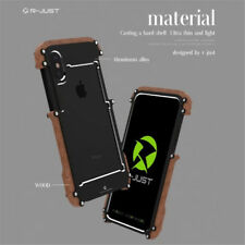 Luxury CNC Aluminum Metal+Real Wood Bumper Cover Case For iPhone X 8 7 6S Plus