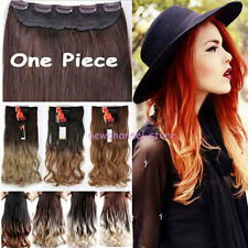 Natural Ombre One Piece Full Head Clip In Hair Extensions Straight Curly Wavy US