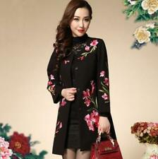 Womens Vogue floral Embroider Coat Long Jacket Grace Ethnic Wool Blend Outwear