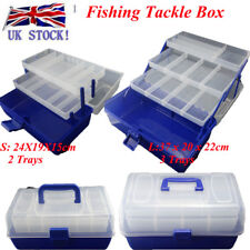 Fishing Tackle Storage Box Carry Case Rig 2/3 Adjustable Compartment Boxes Trays