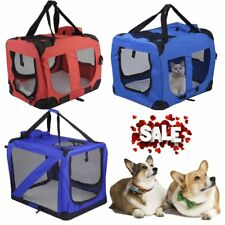 Folding Pet Dog Cat Carrier Bag Travel Kennel Crate Cage Bag Fabric 2 Colour UK