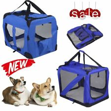 NEW Folding Pet Dog Cat Carrier Bag Travel Kennel Crate Cage Bag Fabric Blue UK