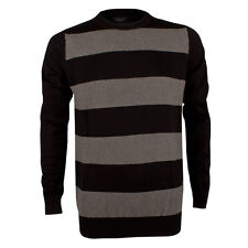 Mens Lindbergh Striped Black and Grey Long Sleeved Crew Neck Jumper