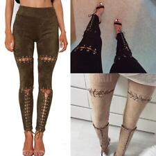 Punk Women Front Lace Up Faux Suede Stretch High Waist Legging Skinny Pants P7R9