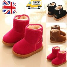 Babies Winter Warm Fur Boots Thick Snow Shoes For 1-6Y Kids Boys Girls UK STOCK