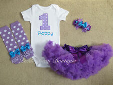 Girls First Birthday Outfits, Purple Turquoise Personalized Tutu Outfit 1st Baby