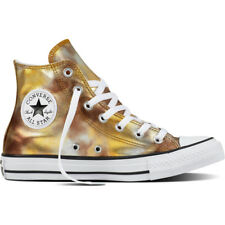 Converse Chuck Taylor All Star Hi Silver/Gold Textile Trainers Shoes