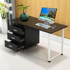 Wooden Office Computer Desk Home Metal Student Study Table 3 Drawer Cabinet RL