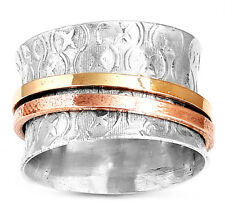 Solid 925 Sterling Silver Spinner Ring 3 Tone Spinning Wide Band Boho Size