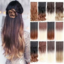 Straight curl wavy Ombre 3/4Full Head Clip In Hair Extensions Real Natural piece