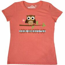 Inktastic 50th Birthday Looks Whoos 50 Owl Women's T-Shirt Happy Turning Year