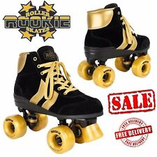 Rookie Authentic Ladies Quad Roller Skates Kids Womens Derby Junior Black Gold