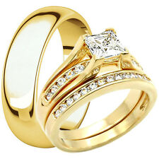His Hers Tungsten & Stainless Steel 14K Gold Plated Wedding Ring Match Band Set