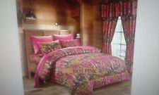 12 PC HOT PINK WOODS  COMFORTER,SHEET AND CURTAIN  SET.   ALL SIZES, 16 COLORS