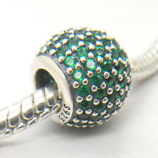 Authentic Genuine S925 Sterling Silver Dark Green Pave Lights Charm