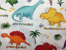Dinosaur Fabric By the Yard / Half Yard Boy Colorful Dino White Cotton Fabric
