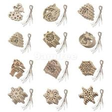 10pcs/Pack Christmas Wooden Hanging Ornaments Craft Xmas Decoration