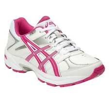 Asics Gel 190TR LEATHER GIRL'S CROSS TRAINING SHOES,WHITE/PINK-Size US 5, 6 Or 7