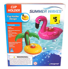Inflatable Floating Cup / Can Holder by Summer Waves - Palm Tree or Flamingo