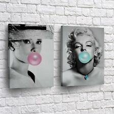 Marilyn Monroe and Audrey Hepburn Gum Canvas Print Wall Art Decor Framed Stretch