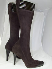 Donna Karan Collection Italy Brown Suede Patent Leather Platform Boots 39/8.5