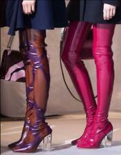 Patent Leather Clear Block Heel Chic Womens Over Knee Thigh High Shoes Long Boot