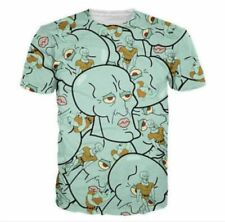 Handsome Squidward Mens Casual Short Sleeve Graphic Tee Funny 3D Print T-Shirt N