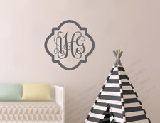 Monogram Wall Decal Home Wall Quote Vinyl Words Lettering Personalized Frame WM9